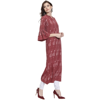Maroon printed viscose rayon kurtas-and-kurtis
