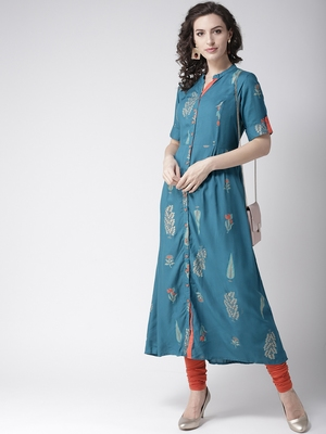 Teal printed viscose rayon kurtas-and-kurtis