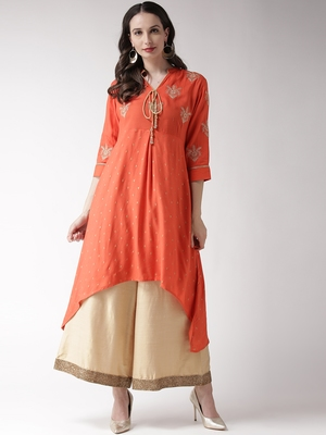 Orange printed viscose rayon kurtas-and-kurtis