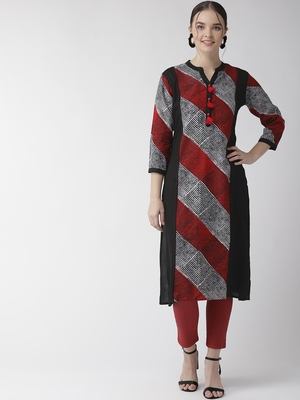 Black plain viscose rayon kurtas-and-kurtis