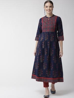 Navy-blue printed cotton kurtas-and-kurtis