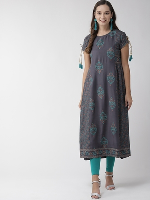 Charcoal printed viscose rayon kurtas-and-kurtis