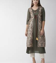 Charcoal printed cotton kurtas-and-kurtis
