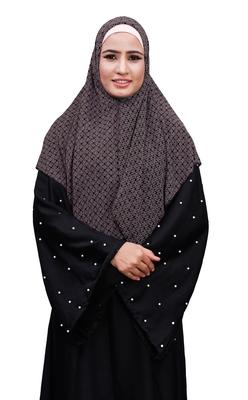 Justkartit Ivory Color Women Printed Chiffon Square Scarf Hijab