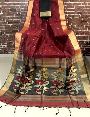 Red Color jamdani Saree