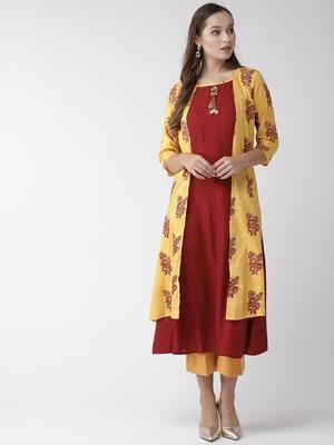 Yellow woven cotton kurtas-and-kurtis