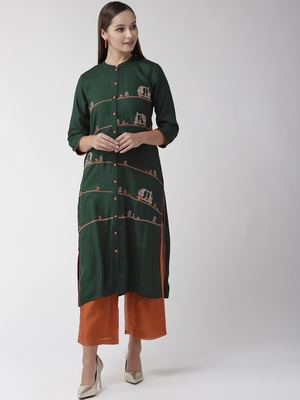 Green printed viscose rayon kurtas-and-kurtis