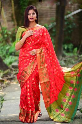 Red Green Color Soft Banarasi Silk Saree