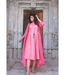 CORAL PINK JACKET WITH PEACH DRESS