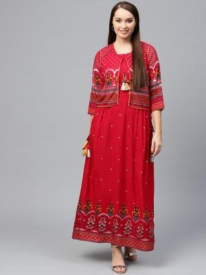 Red printed liva long-kurtis