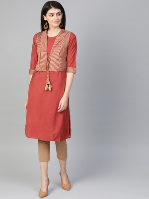 Maroon plain liva kurtas-and-kurtis