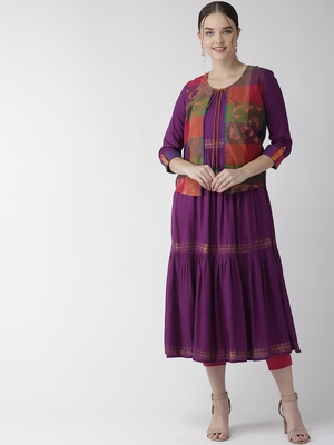 Purple printed cotton kurtas-and-kurtis