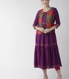 Purple printed cotton kurtas-and-kurtis