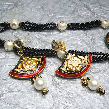 imitation kundan meena jewellery