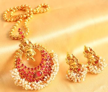 Beautiful Antique Kemp Ganesha Necklace Set