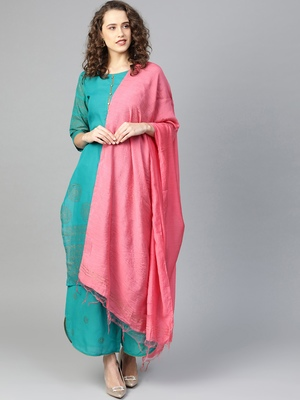 Teal printed cotton salwar