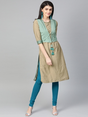 Teal plain liva kurtas-and-kurtis