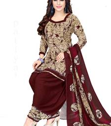 Women's Beige & Maroon Synthetic Printed Unstitch Dress Material With Dupatta