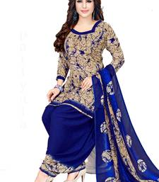 Women's Beige & Blue Synthetic Printed Unstitch Dress Material With Dupatta