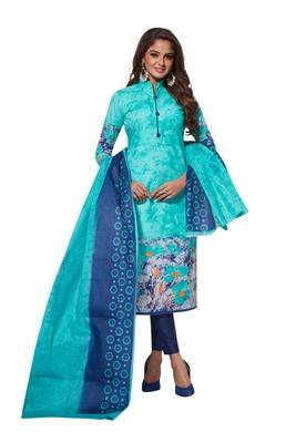 Sky-blue printed crepe salwar