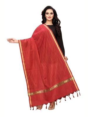 Red Bhagalpuri Silk Woven Womens Dupatta