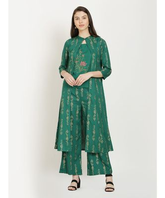 Green embroidered Top With Palazzo With Shrug