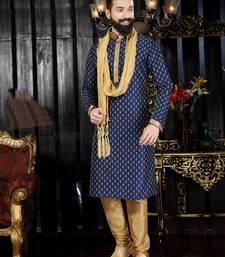 Blue printed art dupion silk kurta-pajama