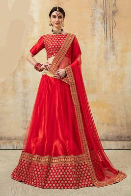 Red Embroidered Net Semi Stitched Lehenga