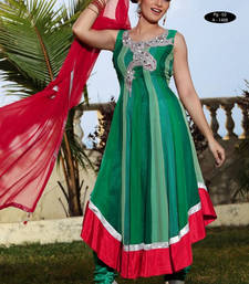 Buy Green embroidered Georgette stitched salwar with dupatta readymade-suit online