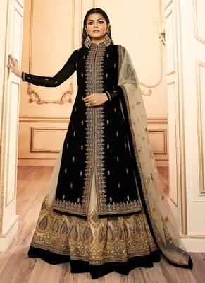 Black embroidered satin salwar