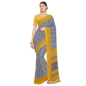 grey printed georgette designer saree with blouse