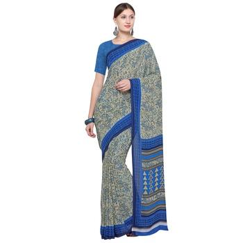 cream printed georgette designer saree with blouse