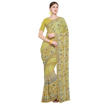 yellow printed georgette designer saree with blouse