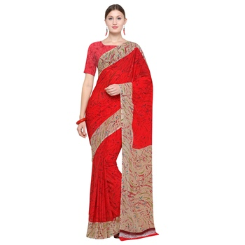 red printed georgette designer saree with blouse