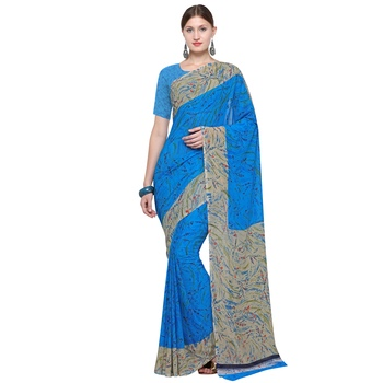 blue printed georgette designer saree with blouse