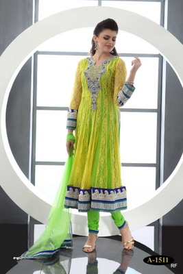 Yellow embroidered Georgette stitched salwar with dupatta
