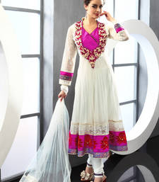 Buy White embroidered Georgette stitched salwar with dupatta readymade-suit online