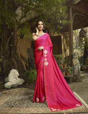 Pink embroidered Satin saree with blouse
