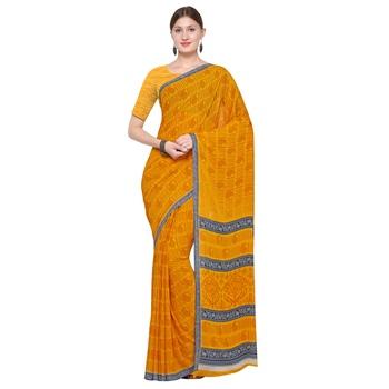 mustard printed Georgette designer saree with blouse