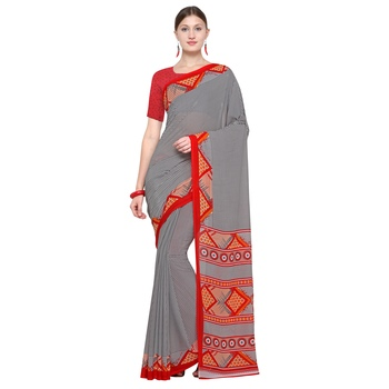 grey printed Georgette designer saree with blouse