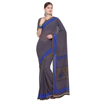 brown printed Georgette designer saree with blouse