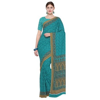 turquoies printed Georgette designer saree with blouse