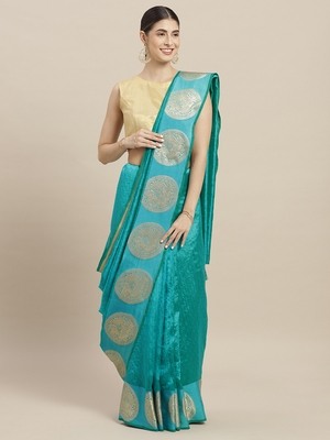 Turquoise printed cotton poly saree with blouse