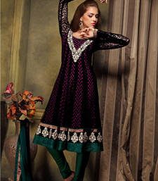 Buy Black embroidered Georgette stitched salwar with dupatta readymade-suit online