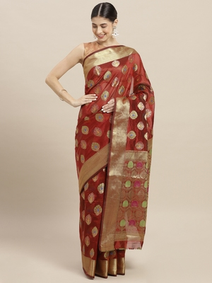 Maroon printed polycotton saree with blouse