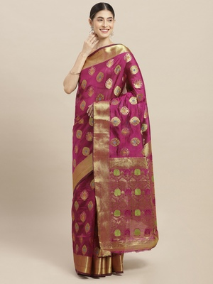 Brown printed polycotton saree with blouse