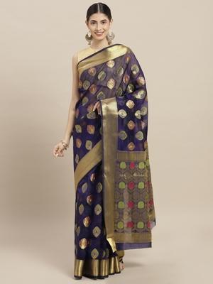 Dark blue printed polycotton saree with blouse