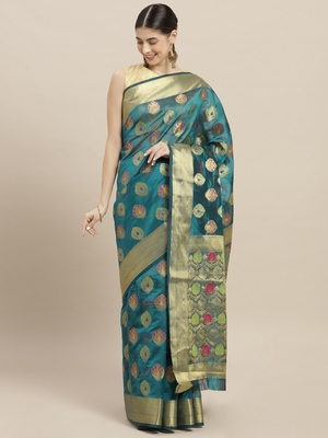 Light blue printed art silk saree with blouse
