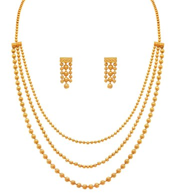 Gold Plated Multi Strands Necklace with Earrings Set for Women MS141