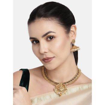 24K Gold Plated Temple Jewellery Laxmi Pendant Necklace Set with Earrings for Women